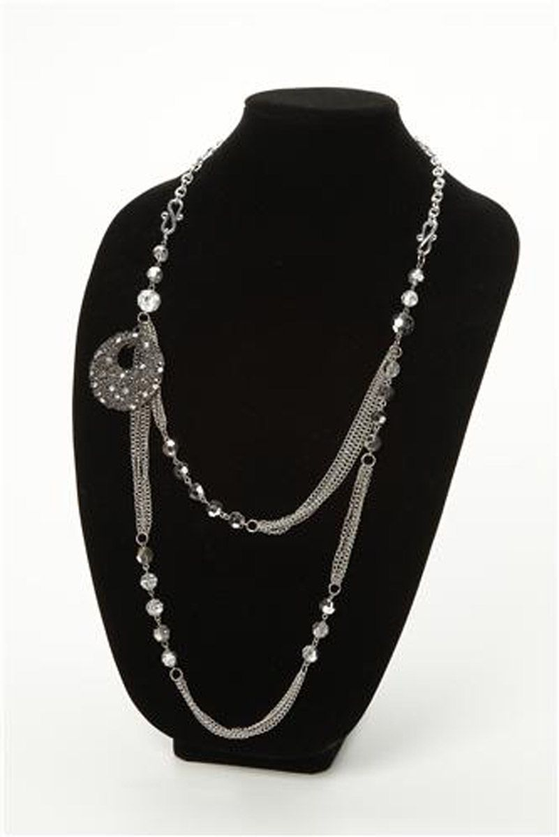 Glitz Collection Silver Chains Necklace