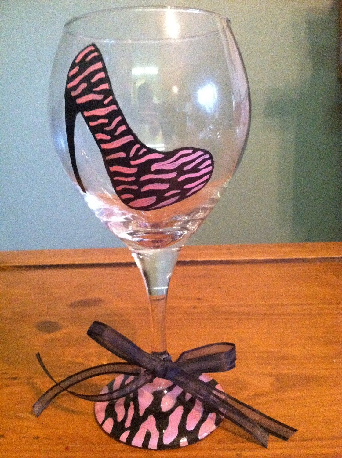 How to decorate wine glasses for bridesmaids - High Heel Shoe Bachelorette Party Painted Wine Glasses Bridesmaid Wine Glass With High Heeled Shoe Animal