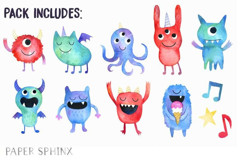 Monsters Clipart Watercolor Monster Birthday Party Baby