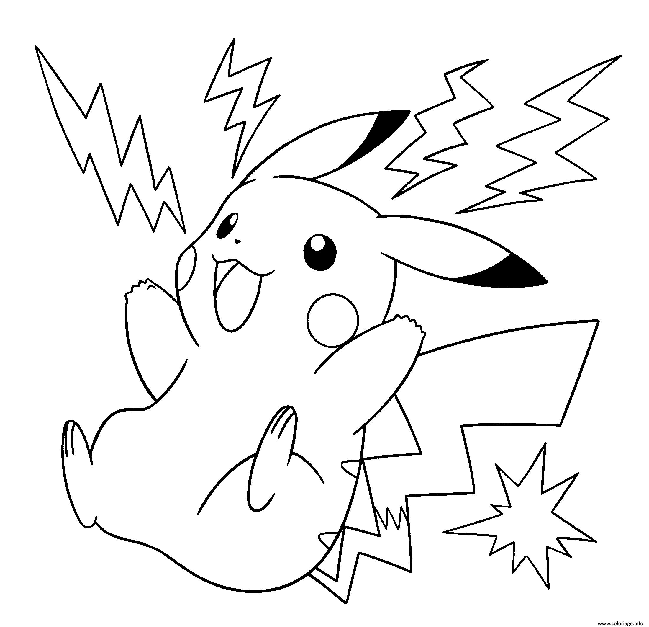 Coloriage Pokemon Pikachu Electrique à Imprimer Coloriage