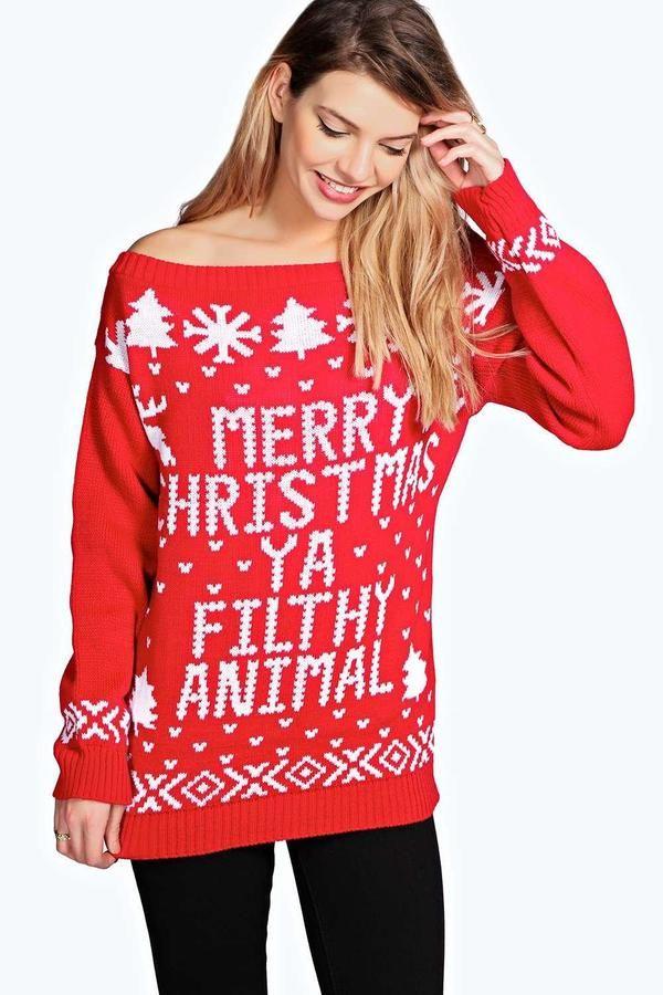 0726433d02e53 boohoo Violet Slash Neck Filthy Animal Christmas Jumper | Christmas ...