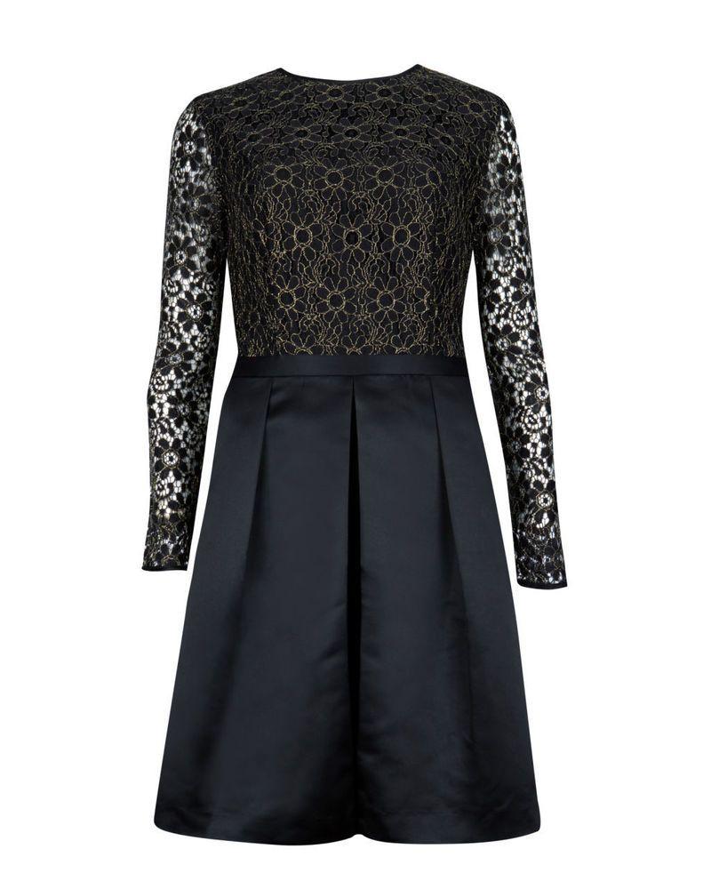 Ted Baker Freeya Lace Top Mini Full Skirt Long Sleeve Black Dress Tb 4 Us 10 Dress Clothes For Women Full Skirt Dress Evening Dress Fashion [ 1000 x 800 Pixel ]