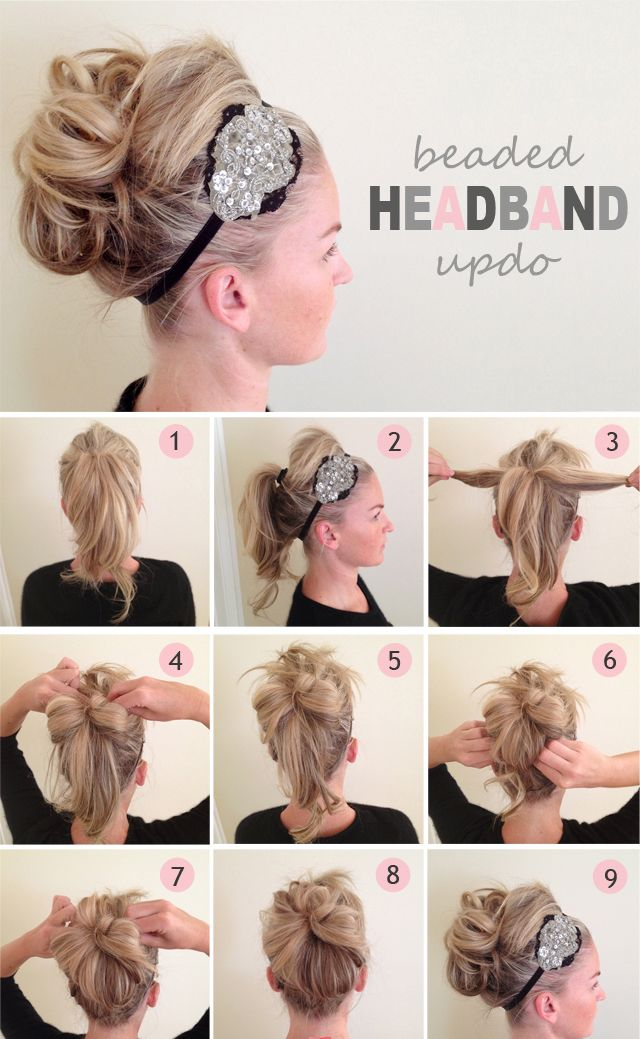 Hair tutorial diy hair hair styles hairrr33 pinterest diy beaded headband updo hairstyle do it yourself fashion tipswithout the weird bang thing going on i would bump it up solutioingenieria