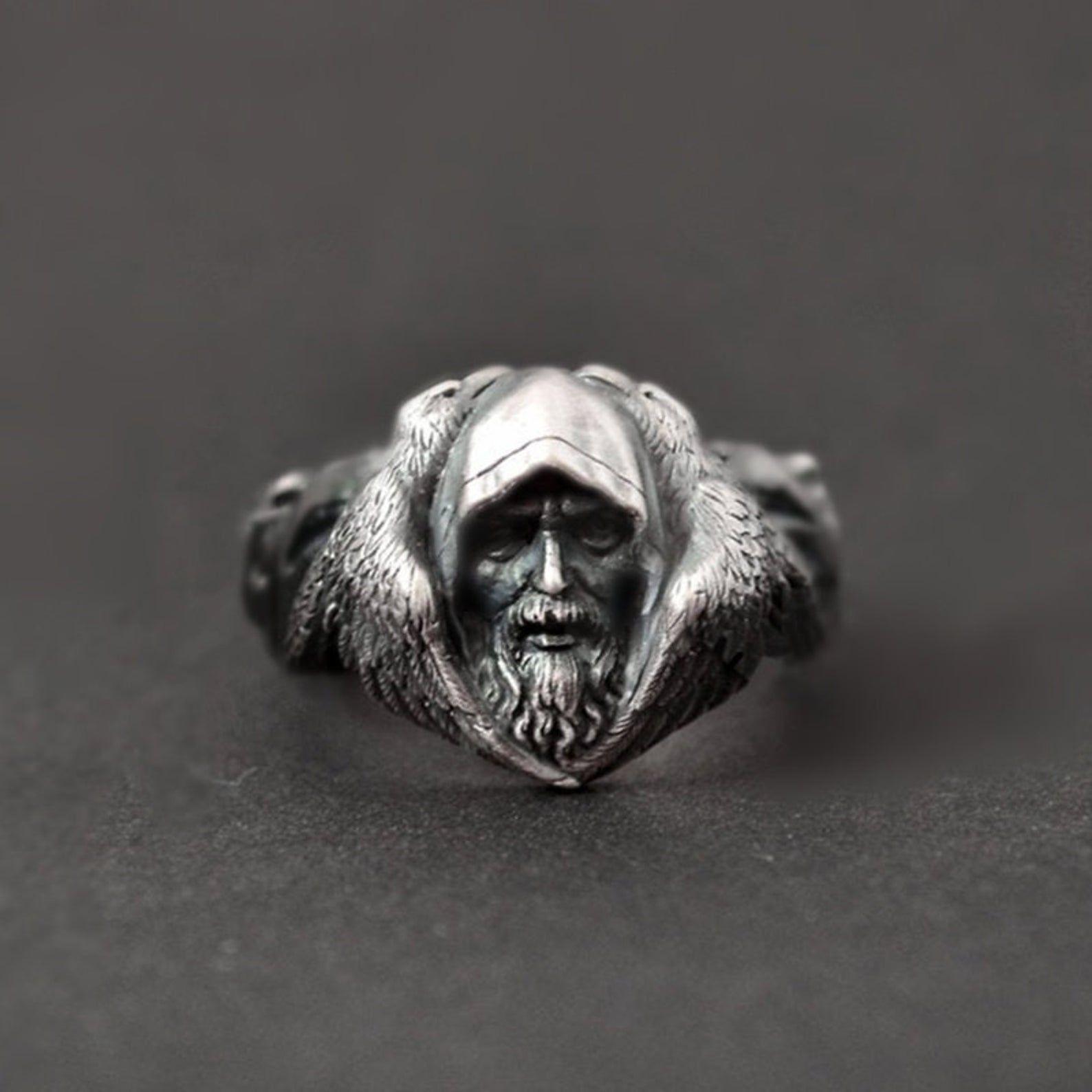 Odin Raven Silver Rings, Men Viking Wolf Stainless Steel