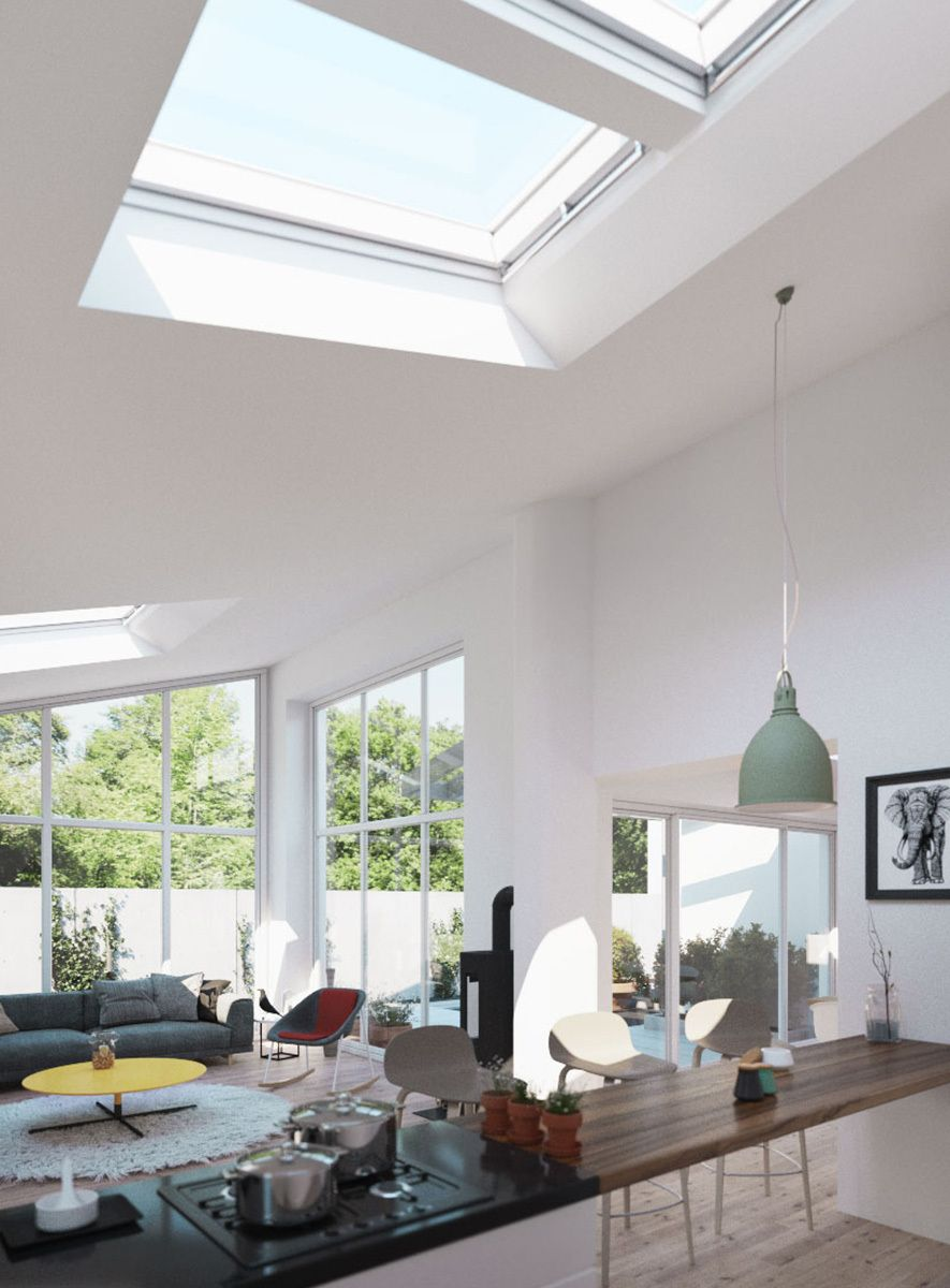 The Fifth Wall Home ceiling, Ceiling design, Velux skylights
