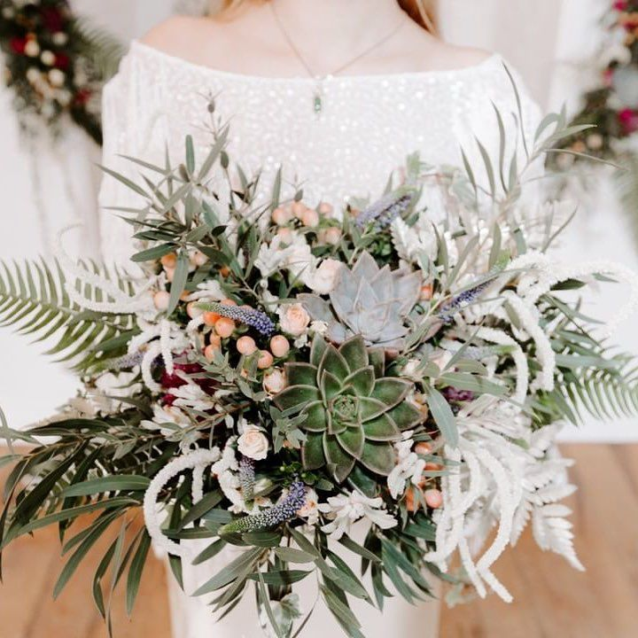 Wedding Flowers Kent: Beautiful Wild Succulent Wedding Bouquet By Bohotanical In