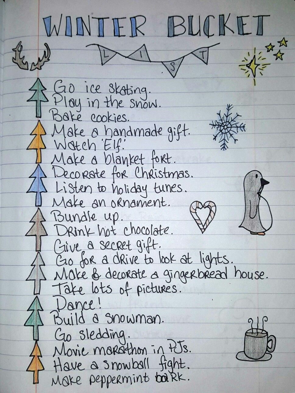 Winter bucket list I made based off a fall bucket list pin ...
