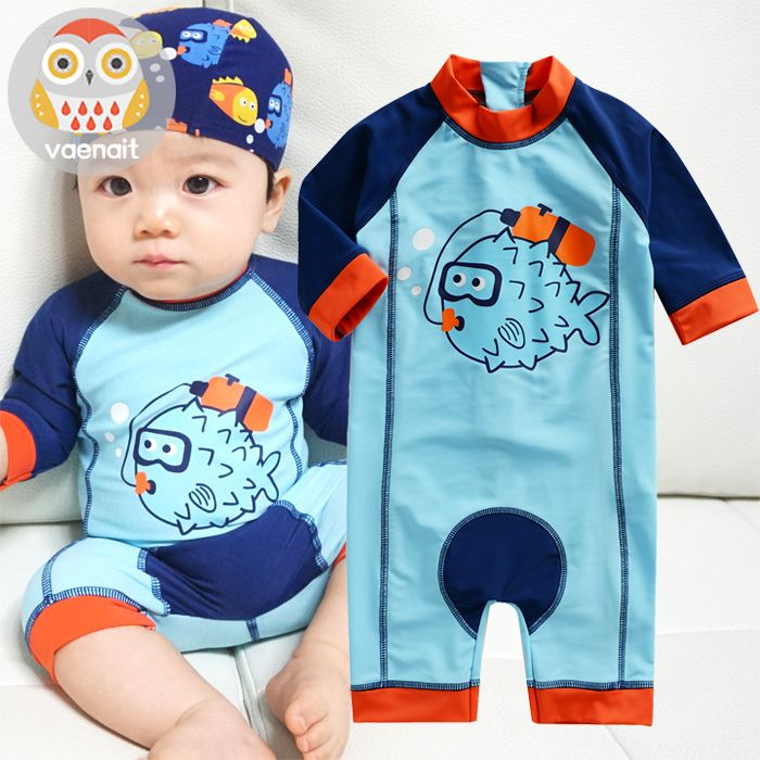 556082129e Baby swimwear sunscreen one piece cartoon baby infant boys bathing suit  kids beachwear child baby swimsuit for diving surfing
