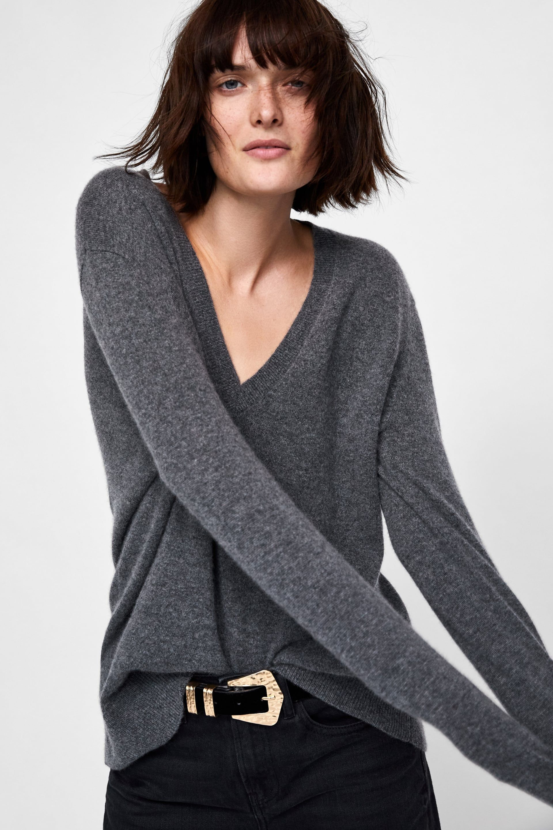 d5928bd67e45c9 Image 4 of CASHMERE V-NECK SWEATER from Zara | Style Inspiration in ...