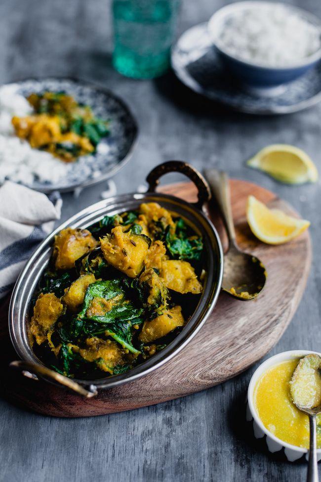 Kumro Palak (Acorn Squash And Spinach Stir Fry)