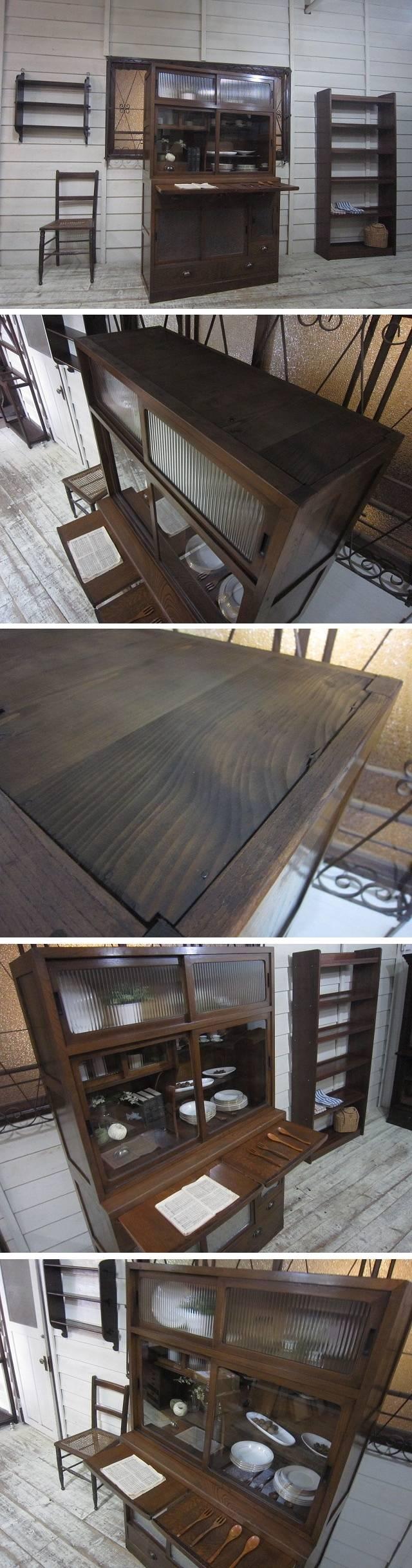 xvpbvx               ○o。希少デザイン♪極上♪古い欅材 ②作業台付き 大きな アンティーク収納棚(②段重ね式)。o○ ○o。商品説明。o○…