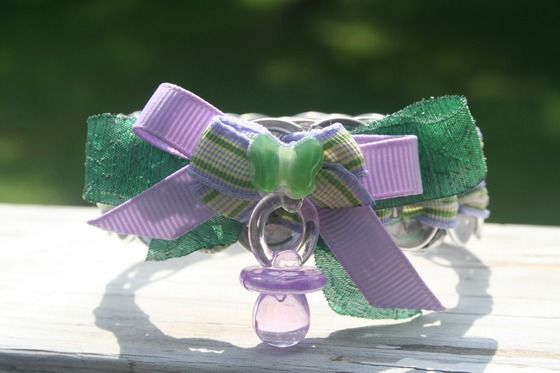 Woman's Green & Purple Soda Tab Bracelet W/ Bow & Pacifier Charm $4.00