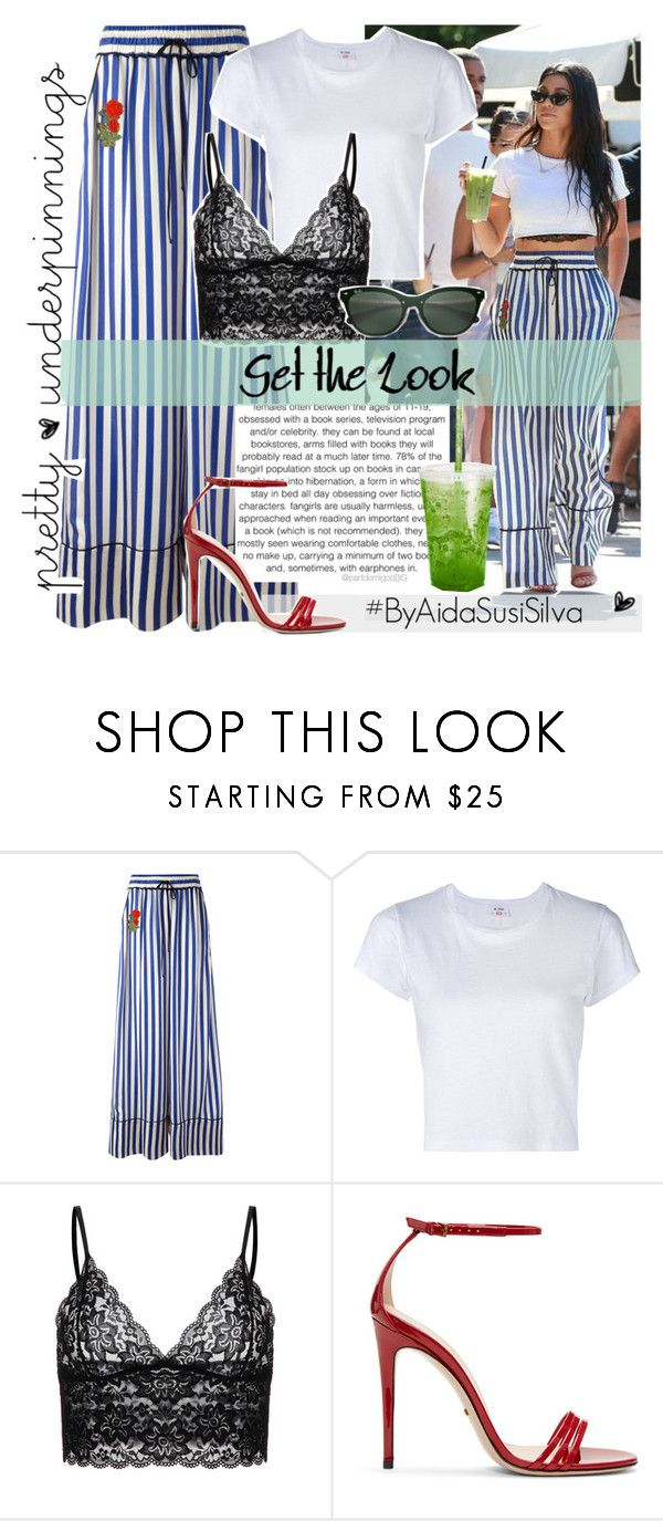 """""""Get the Look: KOURTNEY KARDASHIAN"""" by aidasusisilva ❤ liked on Polyvore featuring Off-White, RE/DONE, Whiteley, Gucci, Ray-Ban and prettyunderpinnings"""