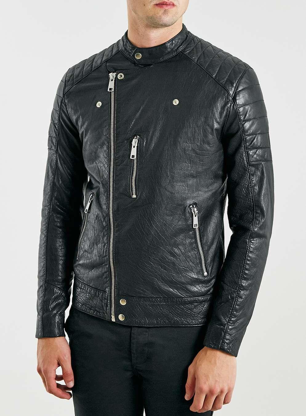 Black Collarless Leather Biker Jacket Moda Hombre Moda Hombres [ 1350 x 994 Pixel ]