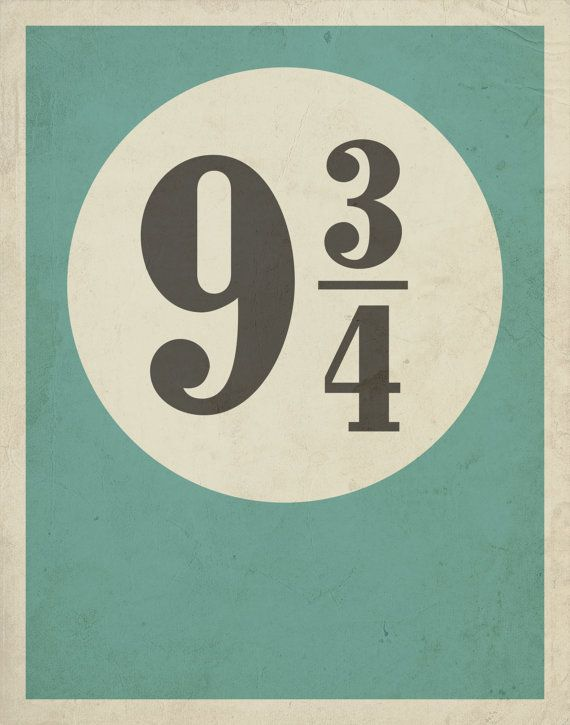 Typography Poster / Harry Potter Inspired Platform 9 3/4 with Distressed Effect 11 x 14 Print / Minimalist Wall Art
