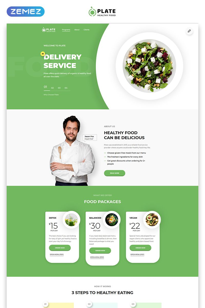 Plate Healthy Food One Page Clean Html Landing Page Template Food Page Plate Healthy Landingpage Food Web Design Landing Page Healthy Recipes