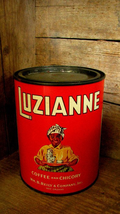 Lovely Primitive Farmhouse Kitchen Decor Luzianne Red Coffee Chicory Can New Orleans Advertising Collectibles Amazing - Minimalist chicory coffee Elegant