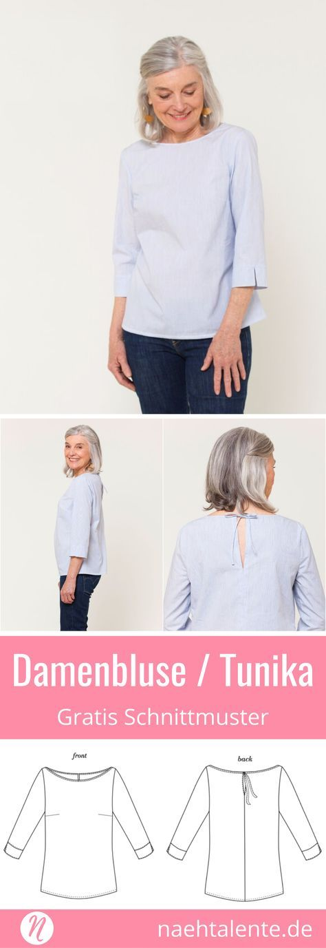 Hübsche Damenbluse - Freebook - Größe XS - XXL #tunicdesigns