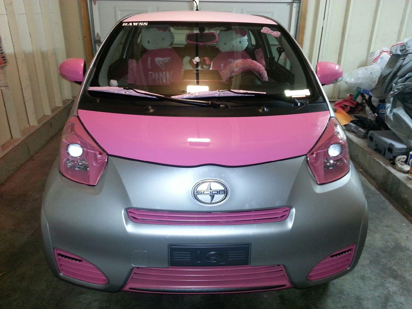 Hello kitty car pink car scion iq