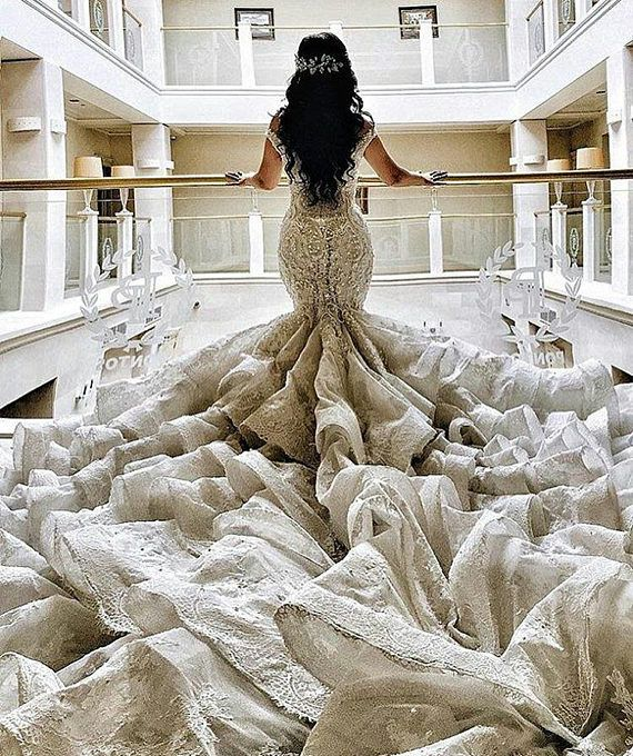 Luxury Royal couture mermaid cathedral train wedding dress ...
