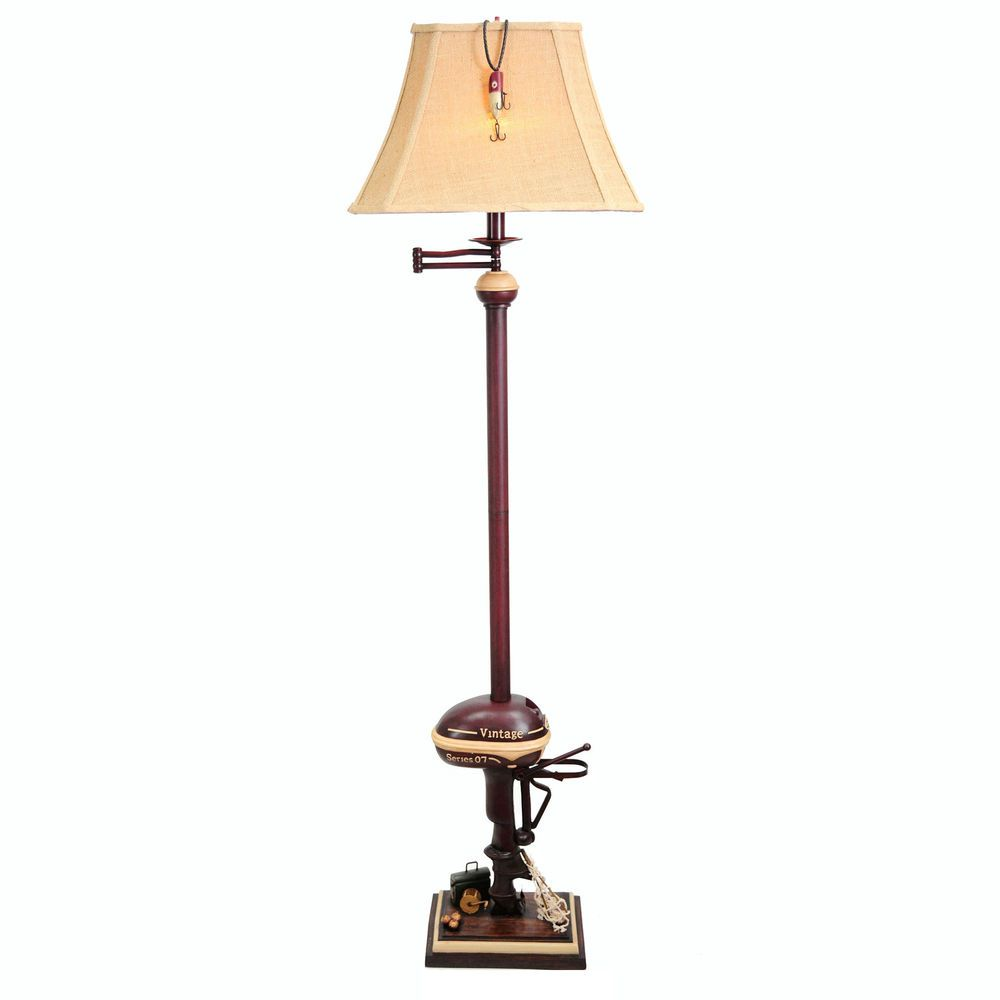 Nautical floor lamp vintage boat motor antique red 65in fishing tackle lamps