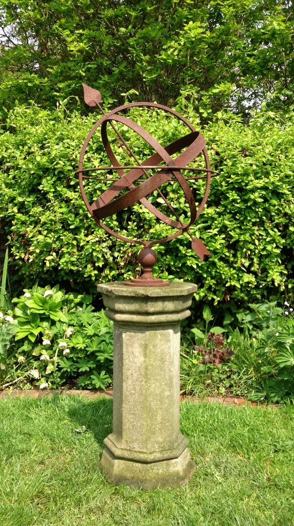 Rusted Armillary Sphere And Pedestal In From The Vintage Garden Company Armillary Sphere Garden Spheres Metal Garden Art