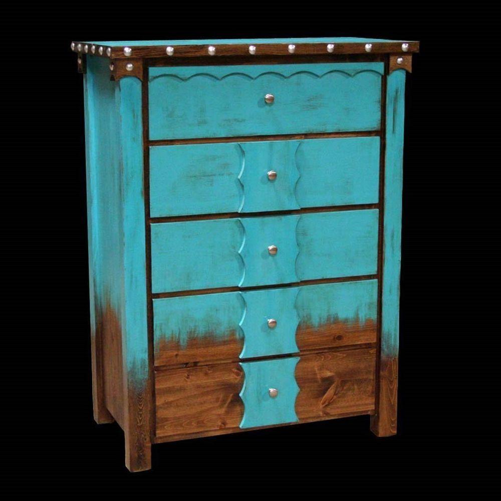 Custom Country Western Rustic 5 Drawer Dresser Cabin Log Bedroom  # Muebles Bazar Santa Sofia