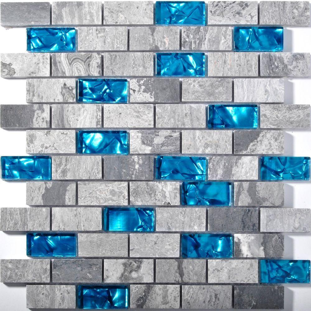 Grey Marble Mosaic Subway Interlock Blue Glass Brick Kitchen ...