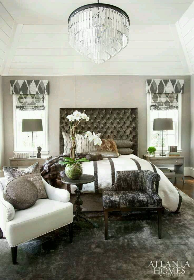 Interior Designer Michel Boyd Softened This Texture Driven Master Bedroomu0027s  Soaring Ceiling With A Jewel Like Restoration Hardware Chandelier And A ...