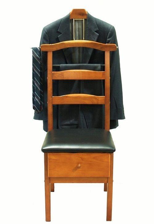 Mens Wooden Standing Valet Butler Dressing Chair Hanger Wardrobe Suit Seat Tray