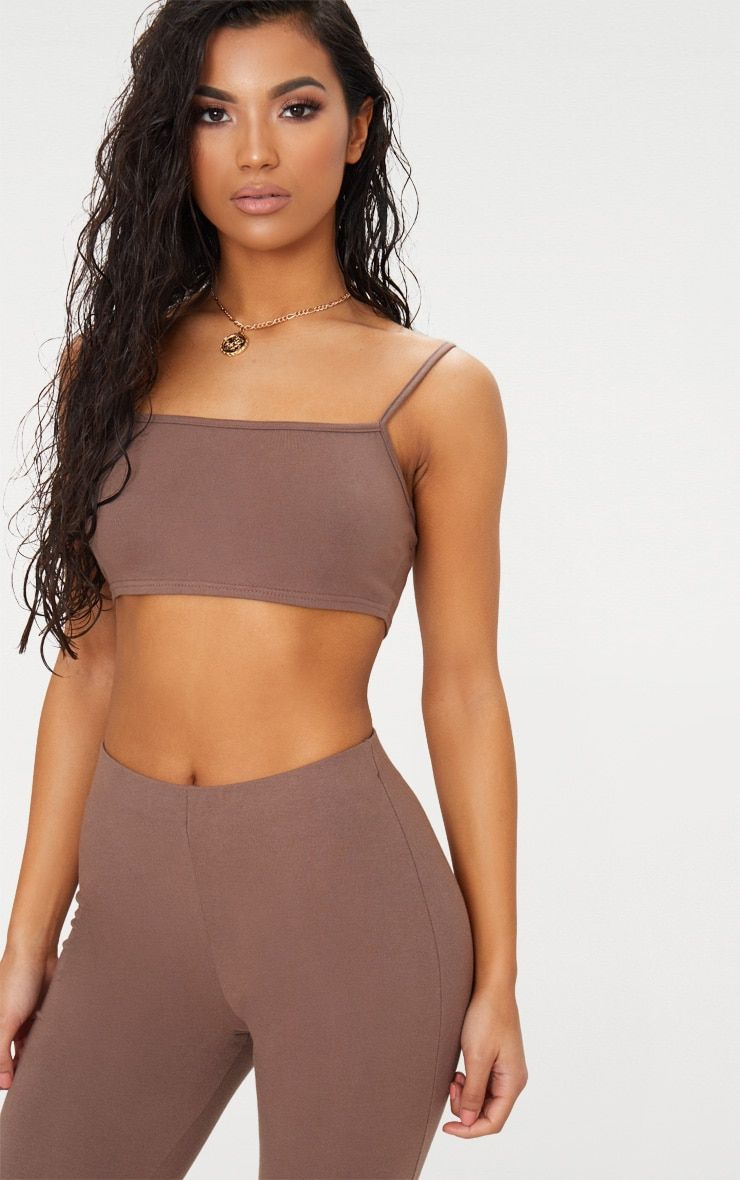 2ce005867db24 Brown Cotton Stretch Strappy Crop Top Freshen up your collection with this  cute crop top.