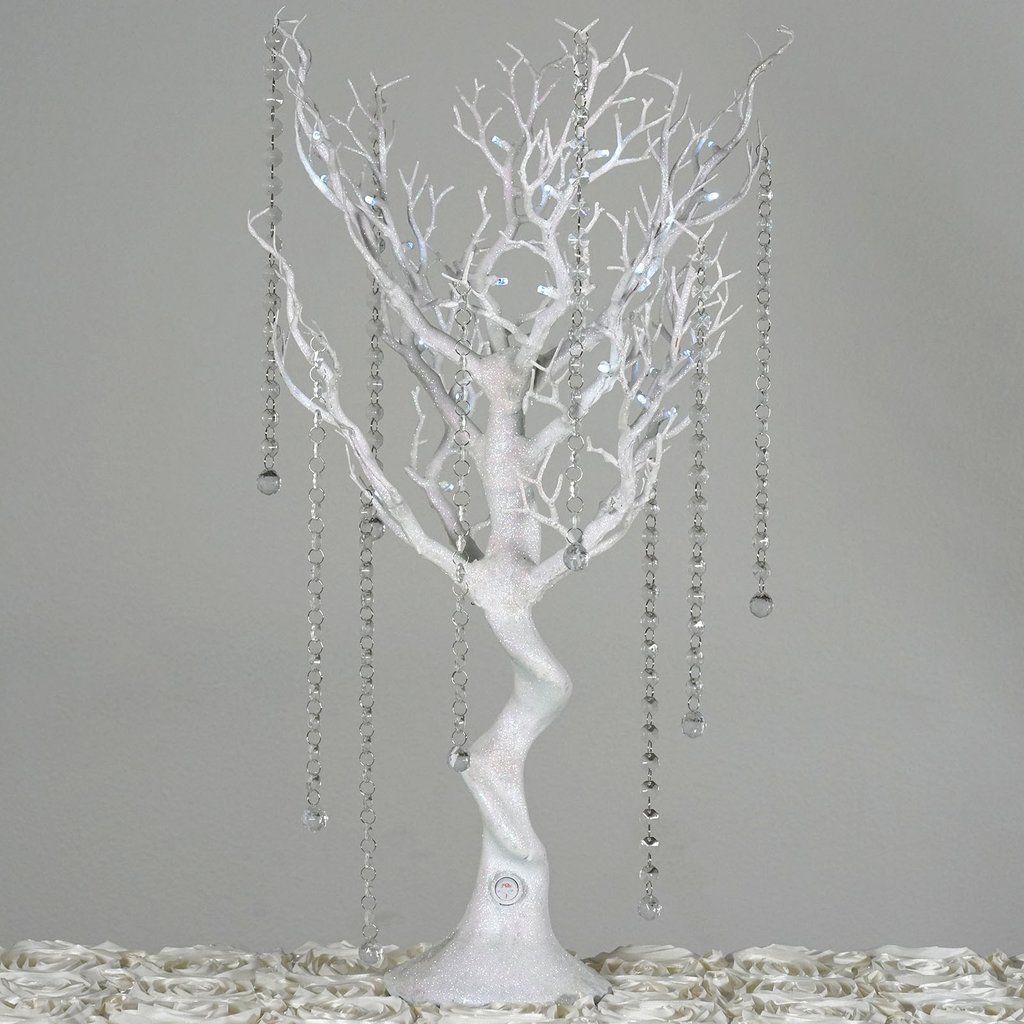 White Battery Operated Glittered Manzanita Tree Centerpiece With Led Lights 8pcs Acrylic Chains Manzanita Centerpiece Tree Centerpieces Manzanita Tree Centerpieces
