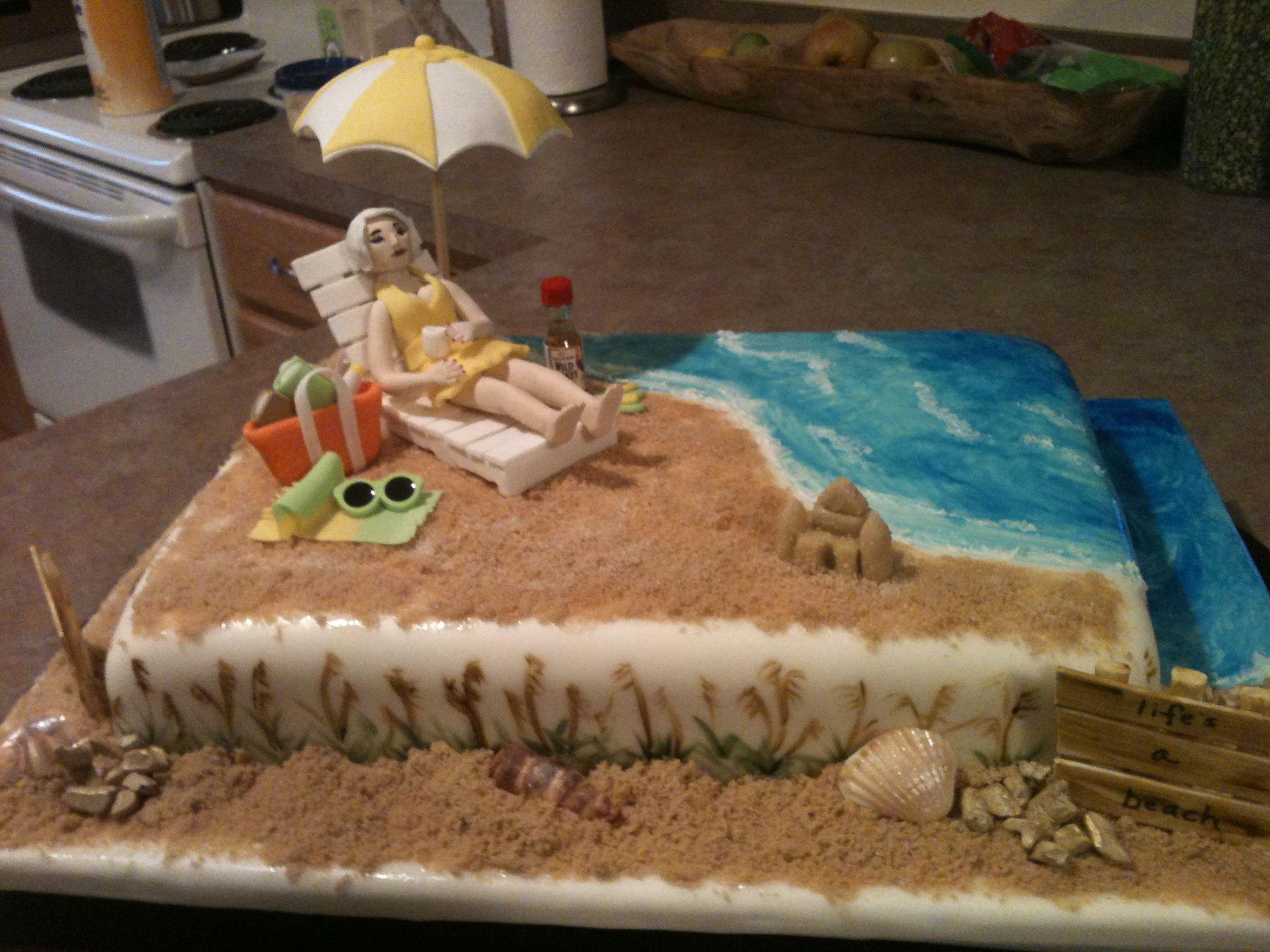 Beach cske retirement cakes beach themed cakes beach cakes