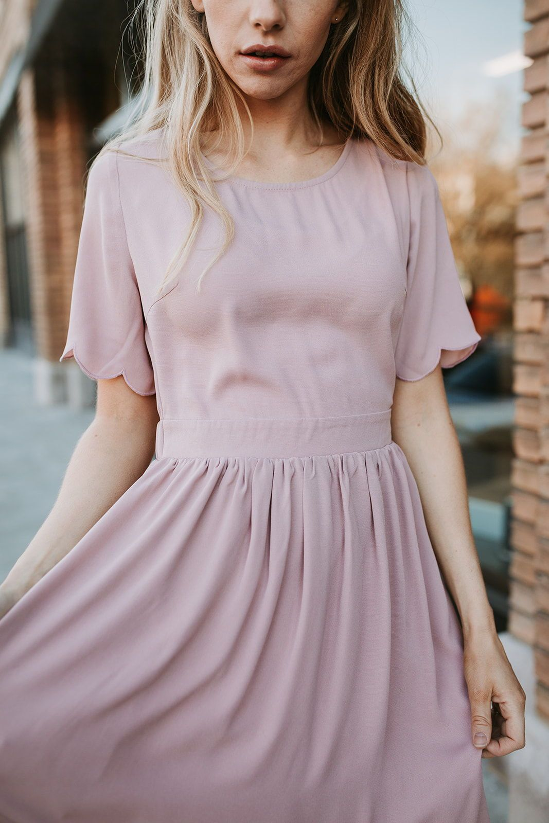 The Stephanie Scallop Sleeve Dress In Blush In 2020 Casual Dresses For Teens Casual Dresses Dresses