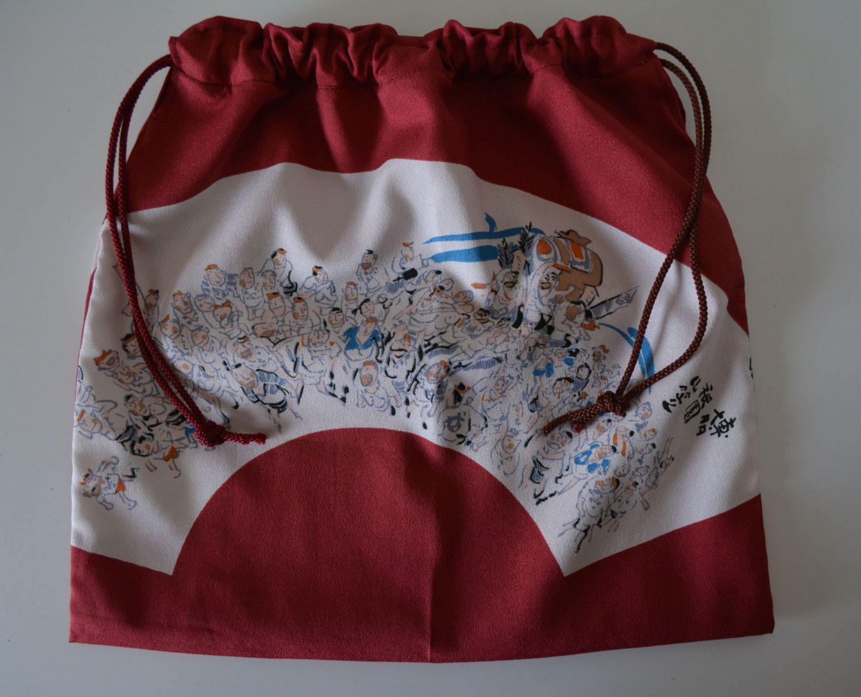 Kinchaku: drawstring  purse, chirimen fabric by StyledinJapan on Etsy
