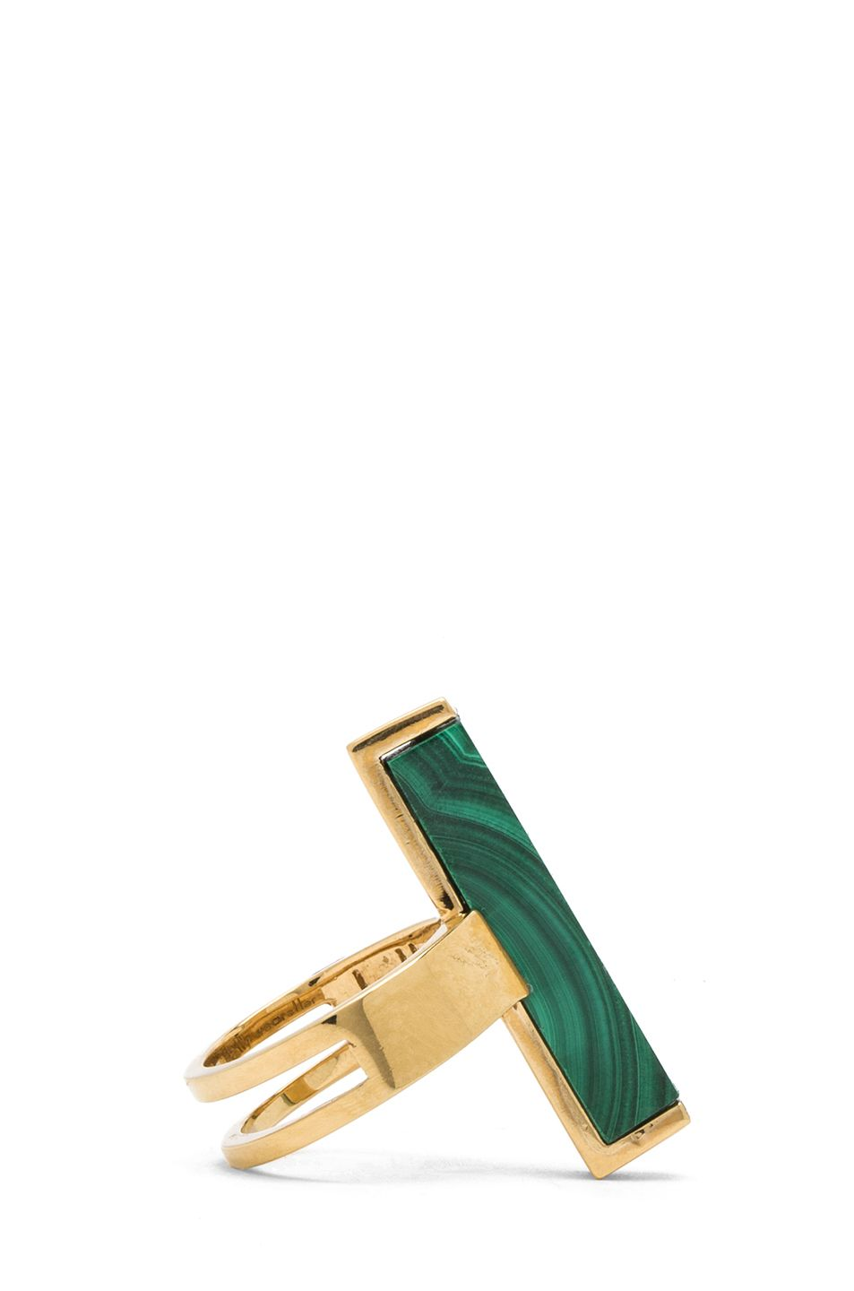 KELLY WEARSTLER  Stone Rod Ring in Gold and Malachite