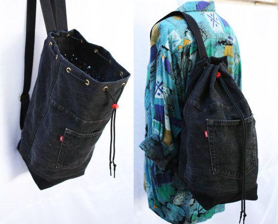 Bolsa Mochila Los Dril Años Reciclado Cubo Hipster Lazo Grande Algodón De Jeans Bolso Negro Grunge 90 Del Ecológico Denim fR7wc