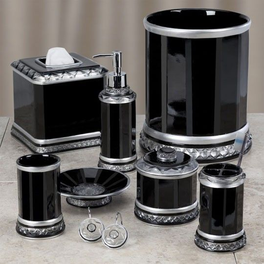Harlow Black Bath Collection $18.00 | Bath accessories ...