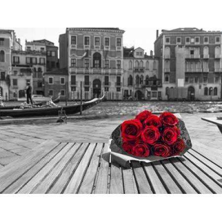 Bunch Of Red Roses On Street Cafe Table Near Canal Venice