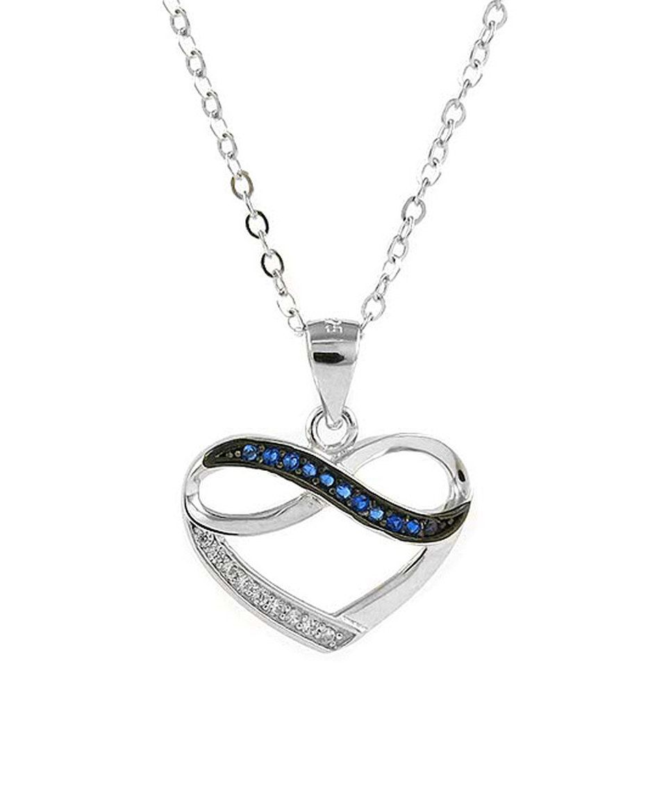 Look what I found on #zulily! Blue Cubic Zirconia & White Gold Infinity Heart Pendant Necklace by Yeidid #zulilyfinds