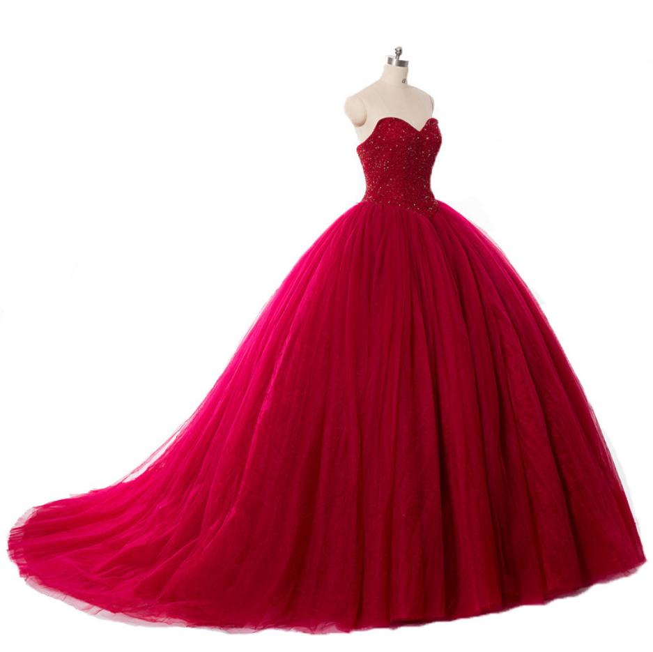 Zelda wedding dress  Luxury Crysal Beaded Red Ball Gown Wedding Dresses Princess Puffy