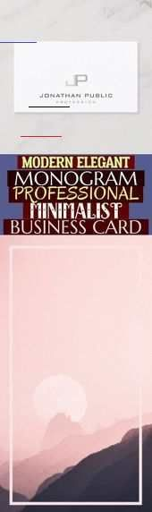 Modern Elegant Monogram Professional Minimalist Business Card , #fitness moderne...  Modern Elegant...