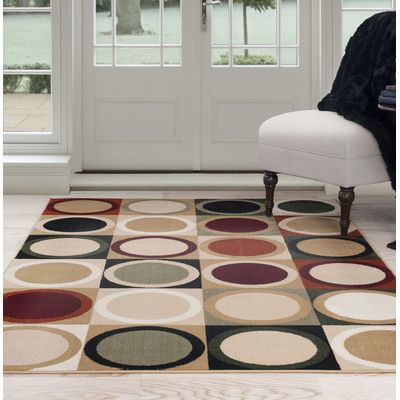 PLYH Circles Beige/Green Area Rug Rug Size: 4' x 6'