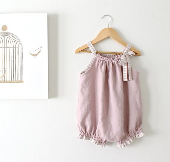 Baby Girl Linen Vintage Romper-Dusky Mauve and Stripe Trim-One Piece-Soft