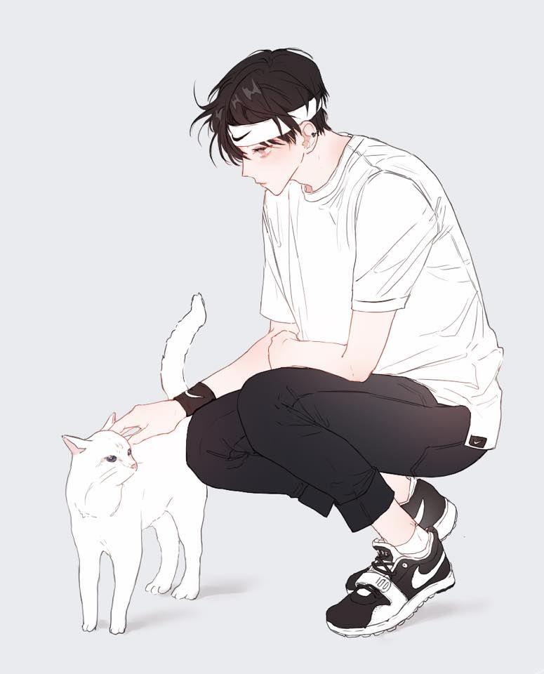 Sporty Anime Guy Black Hair White Cat Avec Images Dessin