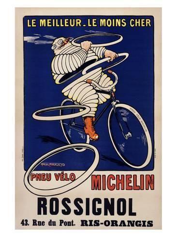 Vintage Automobile Motor Car Poster 1912 Michelin Le Moins Cher France