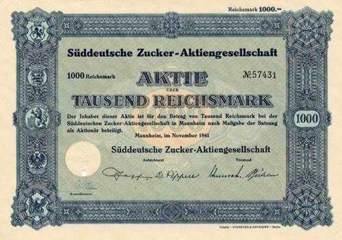 Süddeutsche Zucker-AG / Mannheim, November 1941, Aktie über 1000 RM, Reichsbankschatz-Lochentwertung.