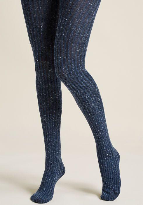 b8719424338dd Warm Wonderland Knit Tights in Navy Glitter Fashion, White Tights, Fashion  Tights, Modcloth