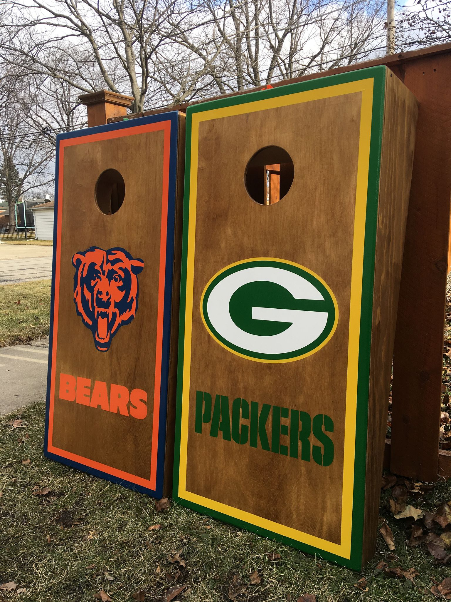 Https Flic Kr P Rbzauk Chicago Bears And Green Bay Packers Stained Cornhole Set Royal Oak Stain B Cornhole Set Custom Cornhole Boards Diy Cornhole Boards