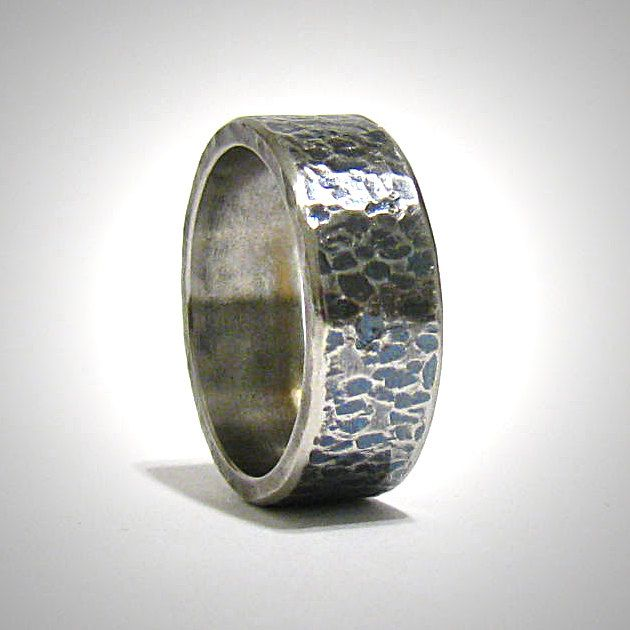 Men Fashion 8MM Stainless Steel Hammered Wedding Band Ring